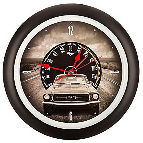 Ugtell Ford Mustang Sound Clock Wall Decor Garage Metal Vintage Style Sign Decor
