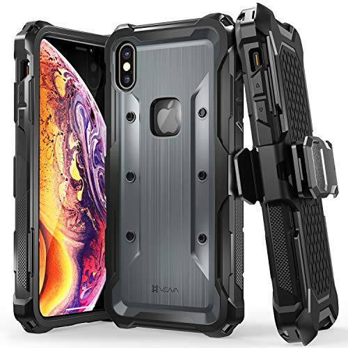 Vena iPhone Xs Max Holster Case, [vArmor] Rugged Military Grade Heavy Duty Case with Belt Clip Swivel Holster & Kickstand, Compatible with iPhone Xs Max - Black/Space - Carry Duty Case Heavy