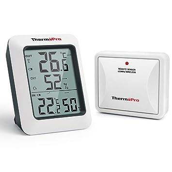 56a35a5f2 ThermoPro TP60S Termómetro Higrometro Digital para Interior y Exterior  Termohigrómetro Inalámbrica con Sensor Remoto para Hogar Ambiente Medición  de Humedad ...