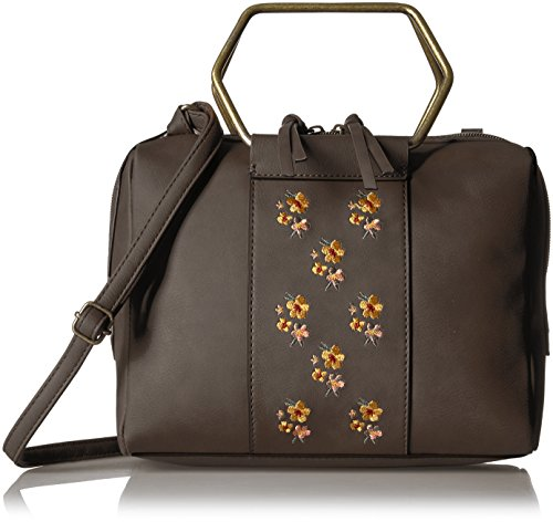T-Shirt & Jeans Ring Satchel with Embroidered Flowers, Brown