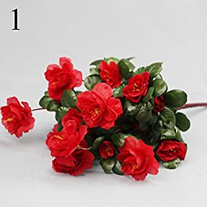 FYYDNZA 1 Pcs 7 Fork Azalea Flowers Artificial Flowers Azalea Red Fake Flowers Living Room Real Estate Mall 3