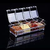 Zehui Seasoning Box 4-Compartment with Cover & Spoon Condiment Storage Container Kitchen Tool
