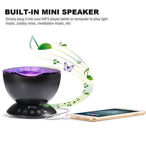 Ocean Wave Projector, Night Light Projector, LBell Sleep Sound Machine with Remote, Music Player, Timer, Room Decor for Infant Baby Kids, Nursery Living Room and Bedroom (Black) by LBell (Image #2)