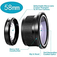 Neewer 0.42x 58mm Professional 2IN1 MC AF Super Wide Angle Lens with Detachable Macro Close Up Conversion Lens for DSLR Camera Key Pieces Review Image