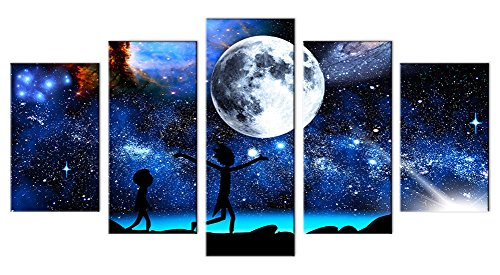 (33wallart Large Modern Wall Art Canvas Print Decor Large 5 Piece Abstract White Moon Fantasy Landscape Picture Framed Artwork Ready to Hang for Living Room)