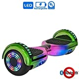 """NHT 6.5"""" Chrome Edition Hoverboard Self Balancing Scooter w/LED Wheels and Lights (Chrome Rainbow (No Bluetooth))"""
