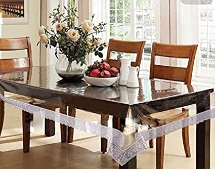 Pindia Silver Border Plain PVC-Polyester 4 Seater Centre Table Cover - Transparent