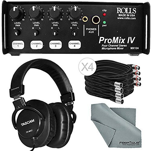 Rolls MX124 Portable 4-Channel Stereo Mixer and Accessory Bundle w/ 4x XLR Cable+Headphones+Fibertique Cloth 4 Channel Portable Mixer