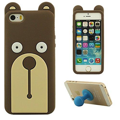 iPhone 5 5S 5C 5G Handy Tasche Schutzhülle Hülle Rückseitige Abdeckung, Cartoon Tier Stil Braun Bär, Weich Silikon Gel Case Cover mit Frei Silikon Halter