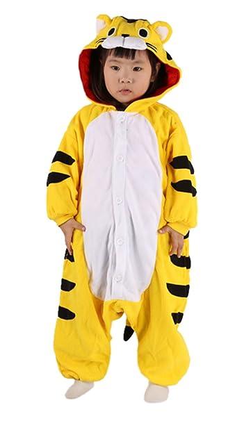 Tigre Cosplay Animales Pijamas Enteros Niño Niña Invierno Novedad Navidad Traje Disfraz