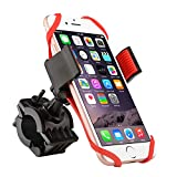 Insten Universal Bicycle Motorcycle MTB Bike Handlebar Mount Phone Holder Cradle W/ Secure Grip For iPhone 7/ 7 Plus/ 6S/ 6S Plus, Galaxy On5/S7 Edge/ S7/ Note 7, LG G5/Nexus 5/V10, HTC One, Black/Red