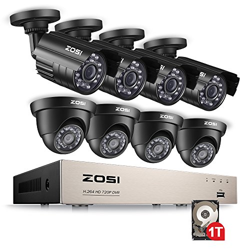 Kit Security Dvr (ZOSI CCTV System H.264 8CH HD-TVI 1080N DVR Recorder 4x 1280TVL 720P Waterproof Bullet Camera + 4x Indoor Outdoor dome Camera CCTV System Security Camera System DVR Kit with 1TB Hard Drive)
