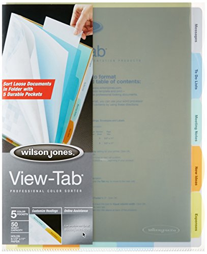 Wilson Jones View-Tab Professional Sorter, 5 Tabs, Letter Size, Multi-Color (W55120)