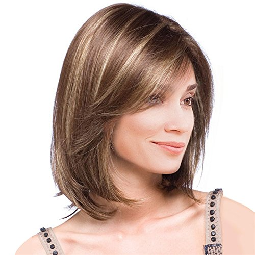 COOKI Shoulder Length Short Short Wigs for Women Full Hair Wig Natural Looking Wigs Cosplay Roleplay Custom Party Hair Wig]()