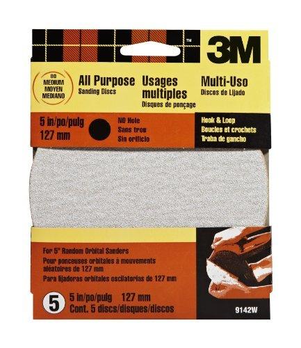 Medium 80 Grit 3M Hookit 9142W 5-Inch No Hole Discs Hardware /& Tools Store 5-pack Model: 9142W