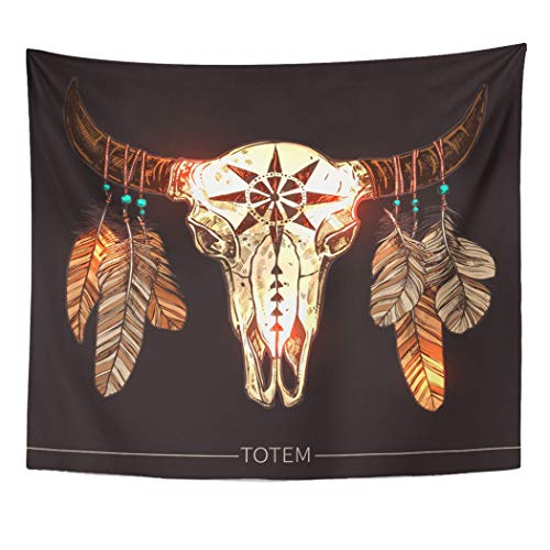 Emvency Wall Tapestry Animal Buffalo Skull with Feathers Native American Totem Cherokee History Indian Navajo Abstract America Aztec Decor Wall Hanging Picnic Bedsheet Blanket 60x50 Inches