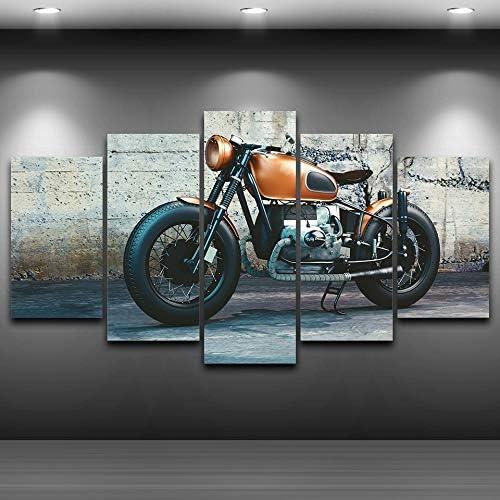 Inch Salon HD toile imprim/ée modulaire Affiches 5 Panneaux muraux Art Cadre Vintage Moto Peinture D/écoration Photos Impressions sur toile Color : Canvas, Size : 40x60 40x80 40x100cm
