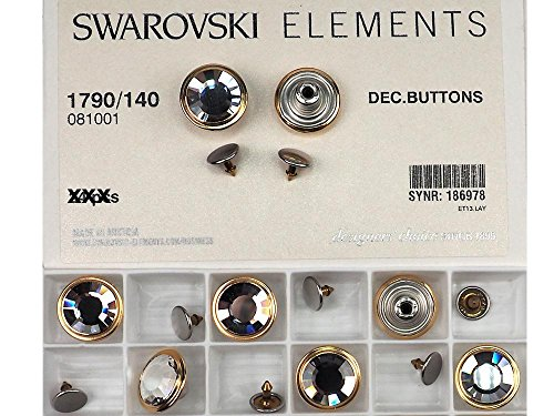 (Swarovski Art.# 1790/140 - Swarovski Decorative Jeans Buttons in 17mm, Crystal Stones, Gold Brushed Casting, Nail included 6 pieces)