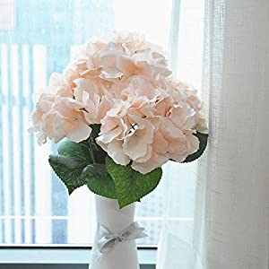Jasion Artificial Flowers Hydrangeas Flowers 5 Big Heads Silk Bouquet for Office Home Party Decoration (Champagne) 5