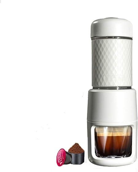 ZJ Mini Máquina De Café Espresso De Cápsulas Portátiles, Café Molido Compatible, Cafetera De Viaje Pequeña, Operada Manualmente Desde Piston Action. Blanco Y Rosa: Amazon.es: Hogar