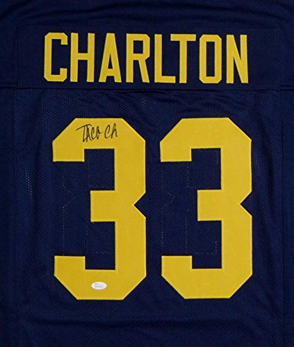 ... Taco Charlton Autographed Navy Blue College Style Jersey- JSA W Auth at  Amazons Sports Collectibles Taco Charlton 2017 ... 7dd254fee