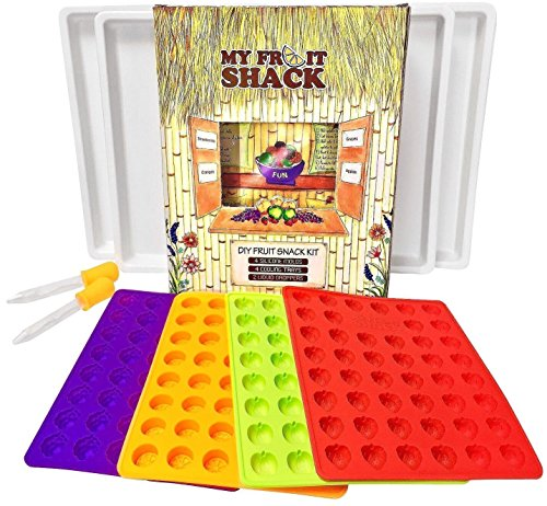 (My Fruit Shack DIY Fruit Snacks Kit - 4 BPA-Free LFGB/FDA Grade Silicone Molds (Makes 184 Gummies Total), 4 Plastic Trays, 2 Droppers and 1 Basic Recipe Page )
