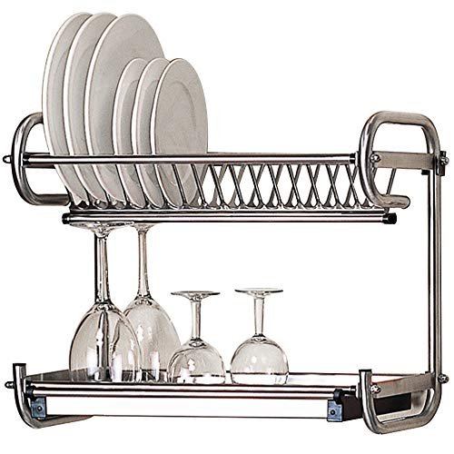 (Kitchen Hardware Collection 2 Tier Dish Drying Rack Stainless Steel Wall Mounted Or Stand On Countertop Draining Rack 17.3 Inch Length 14 Dish Slots Organizer with Drainboard for Cup Plate Bowl)
