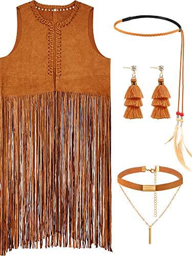 4 Pieces Women Hippie Costume Set Fringe Vest Faux Suede Tassels Vest (M, Style ()