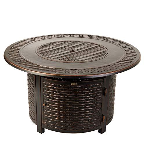 - Fire Sense 62195 Bellante Woven Aluminum LPG Fire Pit, Antique Bronze