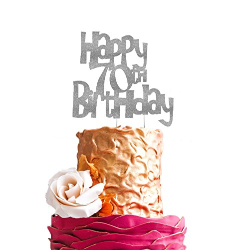 Lissielou Happy 70th Birthday Cake Topper Glitter Silver