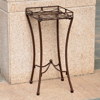 International Caravan Santa Fe Iron Patio Plant Stand in Brown For Sale