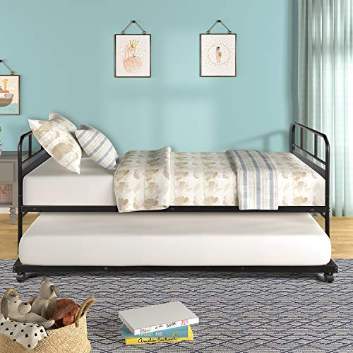 Twin Size Metal Daybed with Trundle Platform Bed Frame Trundle Bed with Built-in Casters for Living Room, Guest Room, Black by HARPER BRIGHT DESIGNS