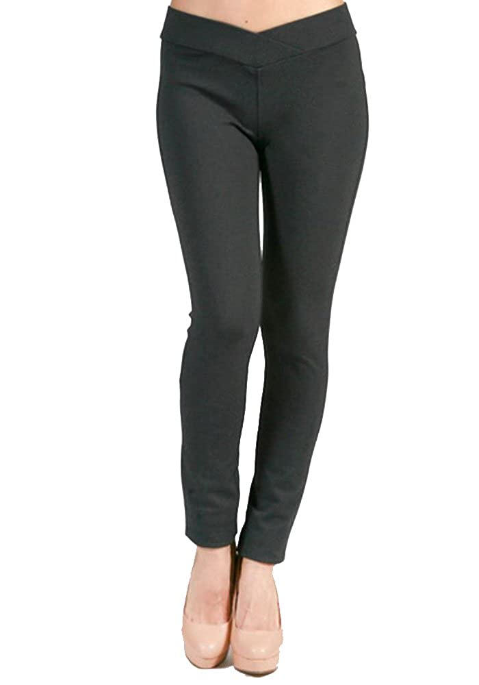 curvyluv.com Sale Womens Plus Size Skinny Leg Ponte Pants w//V Front Waistband Long