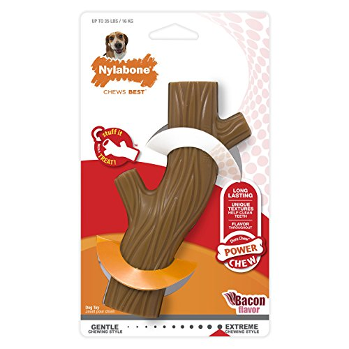 Flavored Chew Sticks - Nylabone Dura Chew Wolf Bacon Flavored Hollow Stick Bone Dog Chew Toy
