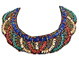 Alilang Tribal Colorful Beaded Bib Scallop Edge Statement Necklace