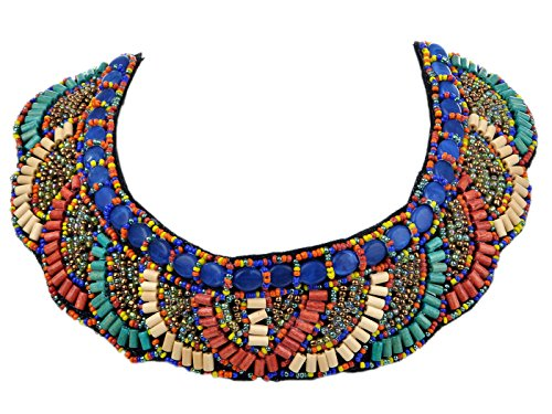African Beaded Necklace (Alilang Tribal Colorful Beaded Bib Scallop Edge Statement Necklace)