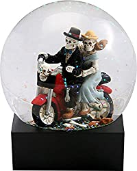 Skull Lovers on Red Motorcycle in a Water Globe with Glitter