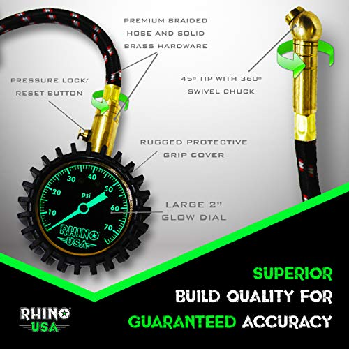 Rhino USA Heavy Duty Tire Pressure Gauge (0-75 PSI) - Certified ANSI B40.1 Accurate, Large 2'' Easy Read Glow Dial, Premium Braided Hose, Solid Brass Hardware, Best for Any Car, Truck, Motorcycle, RV… by Rhino USA (Image #3)