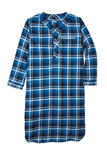 KingSize Men's Big & Tall Plaid Flannel Nightshirt, Twilight Plaid Big-Xl/2X (Mens Tall Bottoms)