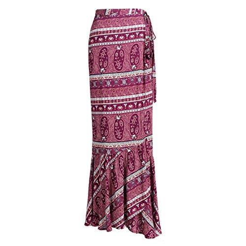 ForeMode Women Boho Print High Waist Side Wrap Split Ruffled Asymmetric Hem Maxi Long Skirt (Winered2)