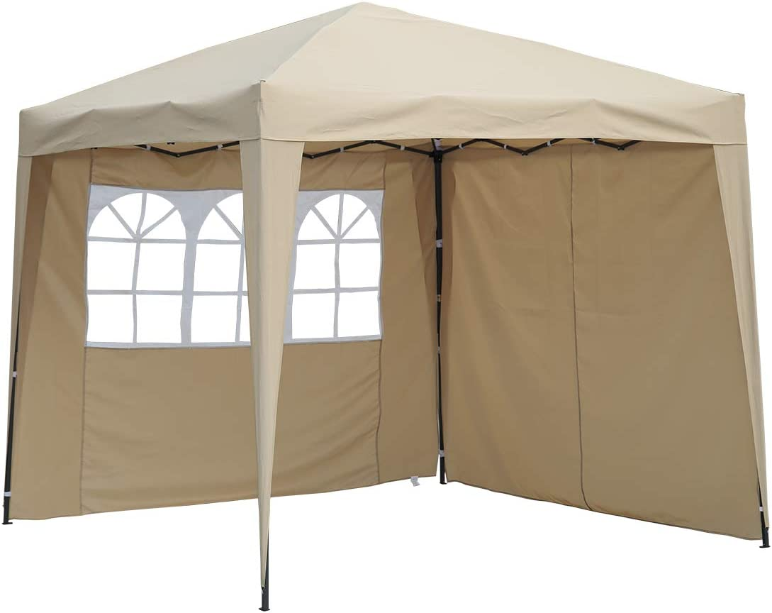 Angel Living Cenador Pop-Up Plegable 2.5 * 2.5m con 2 Lados de Telas, Gazebo con Bolsa De Transporte, Carpa Plegable para el Exterior (Beige): Amazon.es: Jardín