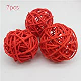 #4: LVOERTUIG 7Pcs Colorful Rattan Ball Ornaments Rattan Ball, Wicker Balls, DIY Vase And Bowl Filler Ornament, Decorative Spheres Balls, Perfect For Decoration Home Wedding Party Decorations