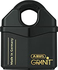 Granit Extreme Security steel padlock with ABUS 7 disc plus cylinder. 25,000-Pound of tensile strength 65 Rockwell core-hardened lock body and shackle Key-retaining for added security Hardened steel bottom plate for additional protection agai...