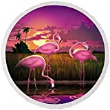Pixels Round Beach Towel With Tassels featuring ''Pink Flamingos At Sunset Tropical Landscape - Square Format'' by Walt Curlee