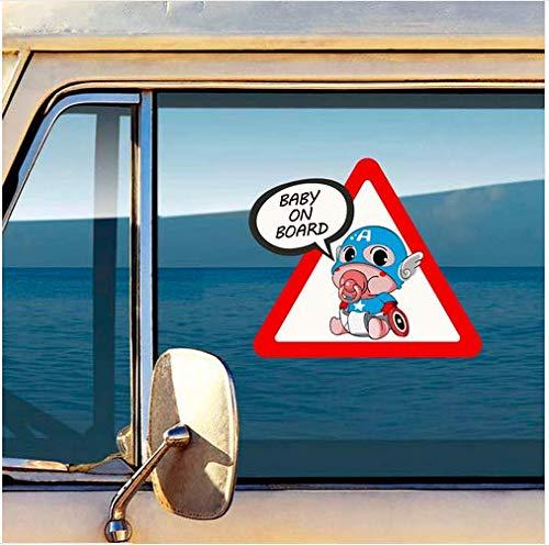 Bimbo a bordo Adesivi Decalcomanie di Sicurezza Segno di Attenzione Captain America Ironman Baby on Board sticker