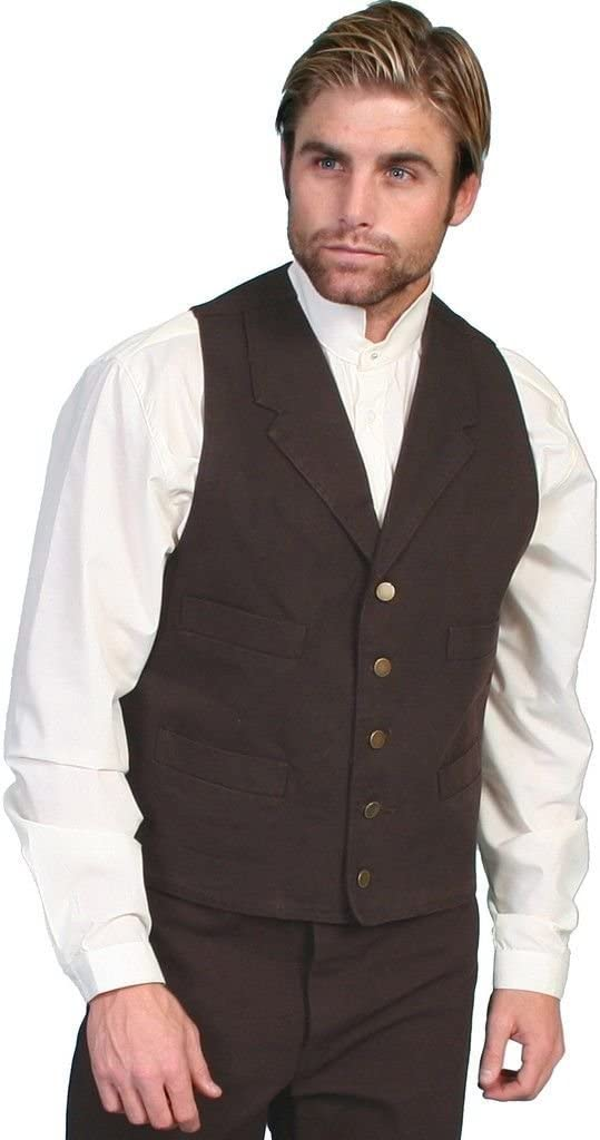 Men's Steampunk Clothing, Costumes, Fashion Scully Rangewear Mens Rangewear Frontier Canvas Vest - Rw041nat $63.73 AT vintagedancer.com