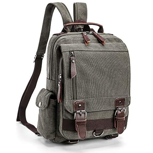 Backpack Purse, F-color Dual Use Messenger Bag Canvas Backpack for Women, Grey