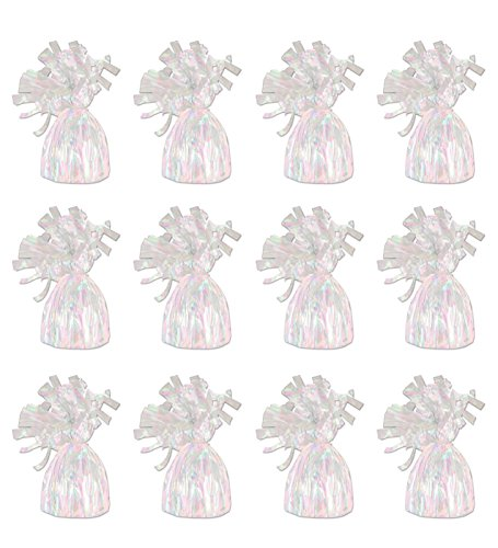 Beistle 50804-OP 12-Piece Opalescent Metallic Wrapped Balloon Weights -