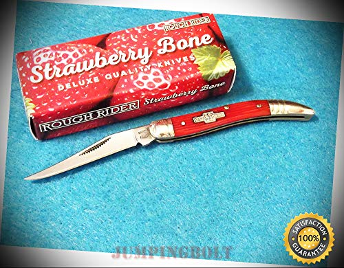 RR1502 BABY TOOTHPICK Red Strawberry Bone pocket knife 3'' closed - Knife for Bushcraft EMT EDC Camping Hunting