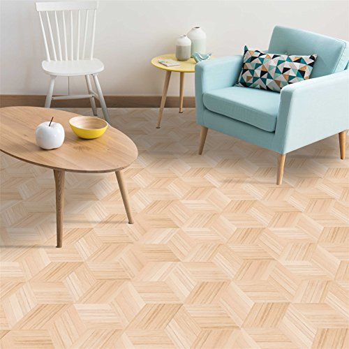 AmazingWall Wood Effect Floor Sticker Wall Art Decor Home Decorative Kitchen Bathroom Backsplash Self Adhesive Mural Decal 9x7.87 X 10 Pcs ()